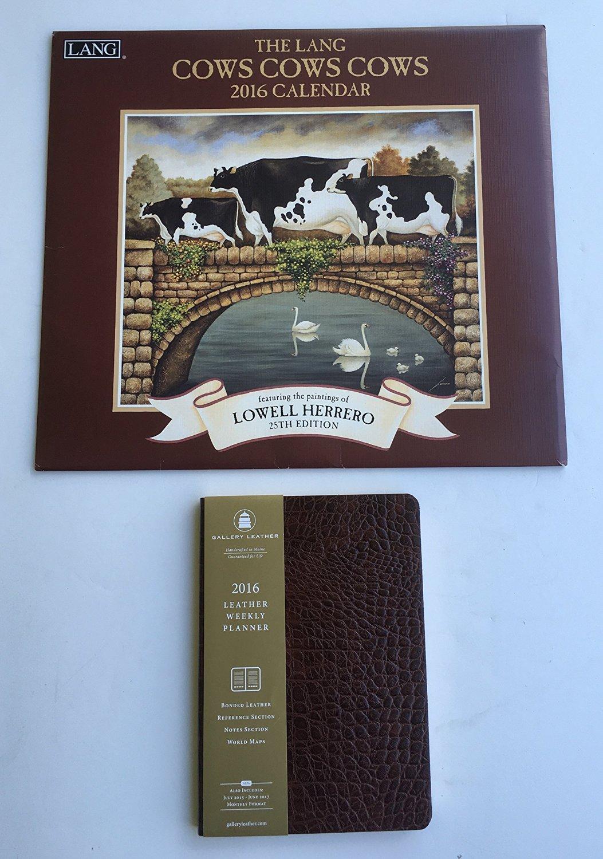 2 Item 2016 Calendar Bundle - 1-2016 Lang Cows, Cows, Cows and 1-2016 Gallery Leather Weekly Planner