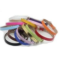 Rhinestone Slide Letter Leather Bracelet- Choose band color
