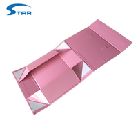 Rigid paper printed flat folding gift box with ribbon