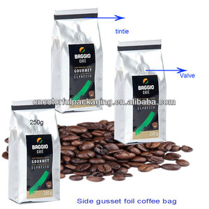 Customized side gusset coffee packaging bags for ground coffee with valve