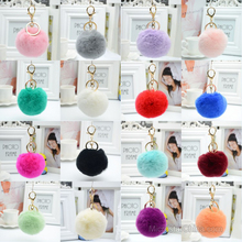 Amazon Hot Selling 2017 20 Colors 8cm Rex Rabbit Fur Ball Pom Pom Metal Keychain
