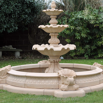 Large Outdoor Marble Stone Round Pool Water Fountain For Garden Decor