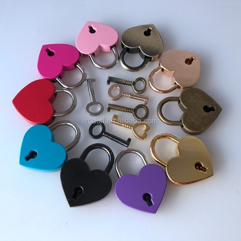 padlock Vintage Antique Style Padlock Key Lock Heart Shaped (Assorted color)