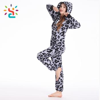 fca80975ab Sexy leopard print adult romper women sculptured velvet onesie zip up plain lady  girls hoodie rompers