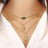 Multilayer 3 Layer 14k gold plated copper leaf Evil Eye jesus cross pendant necklace