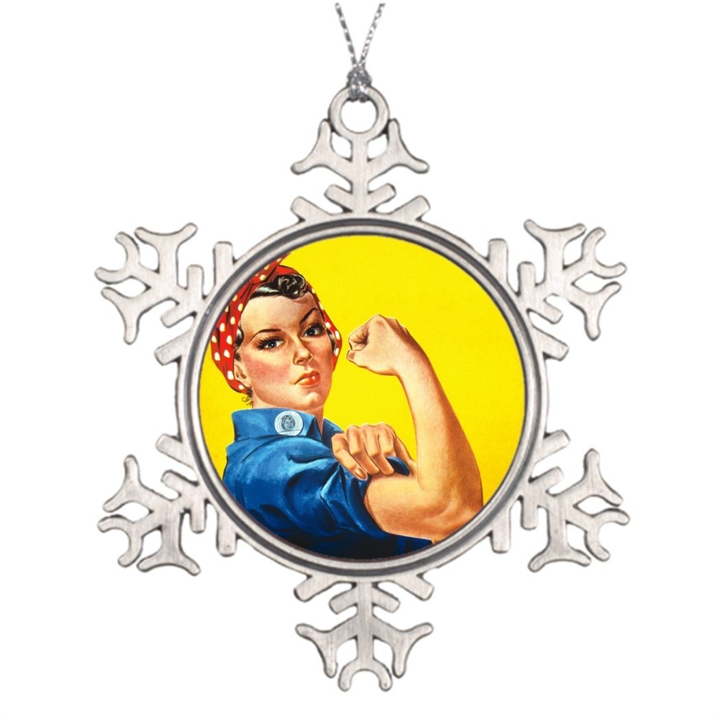 SS OPER Xmas Trees Decorated Rosie the Riveter Snowflake Ornament Tree Stand
