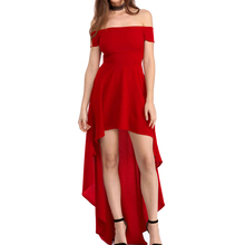 Vendita superiore Sexy Red Alto Basso Hem Spalle <span class=keywords><strong>Cocktail</strong></span> Party Dress