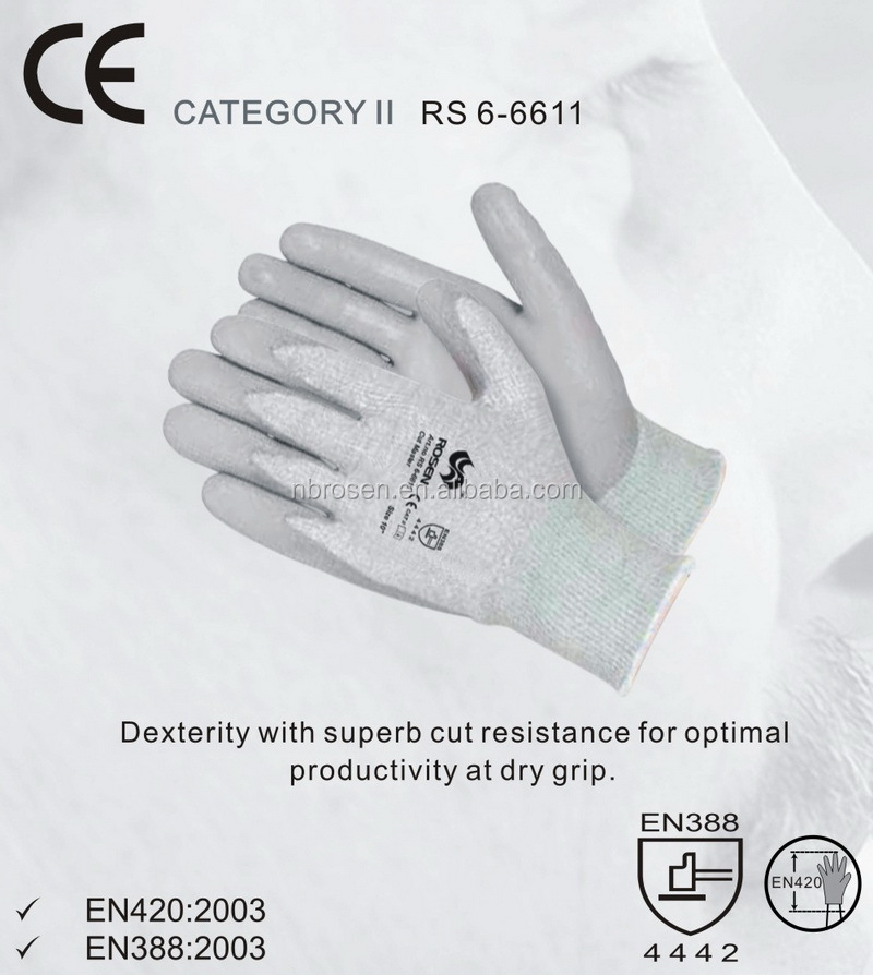 RS SAFETY 1/2 dipping knitwrist open back HPPE yarn pu protective gloves