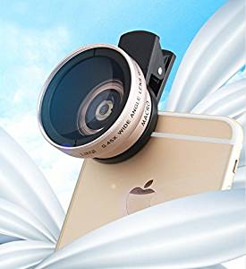 Universal Phone Camera Lens Kit, Clip-On 0.45X Super Wide Angle Lens and 15X Super Macro Lens, for iPhone SE / 6s / 6s Plus / 5s, Samsung HTC and Other Smartphone Champagne Gold