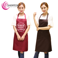 Free Printing logo polyester uniform kitchen cooking customized logo design waist apron for advertising gift wholesale