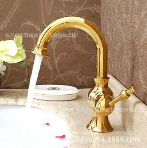 Furesnts Golden basin Faucets gold-plated Faucets basin Kitchen Sink Cold and Hot Faucets Bathroom Basin Mixer Faucets water leading European antique gold basin Faucets