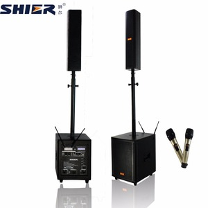 Active Column Speaker Sound System with DSP karaoke processing system and double wireless UHF microphone