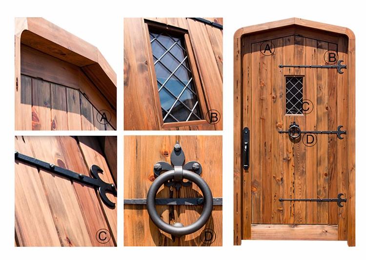 Venster ijzeren ontwerp massief hardhout front deuren rustieke