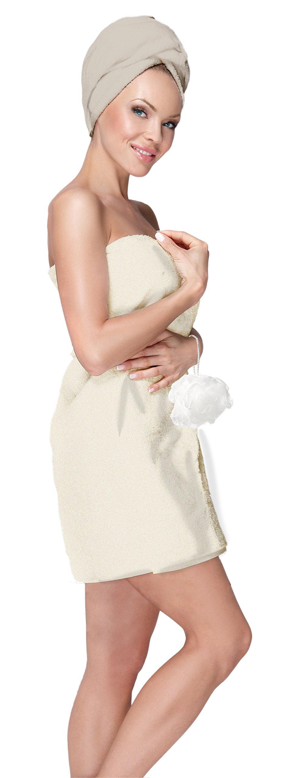 Adrienne Vittadini Women's 3 Piece Bath Body Plush Shower Towel Wrap Spa Set | Bath Body Towel Wrap with Adjustable Fastener, Hair Towel Twist, Loofah/Bath Body Sponge