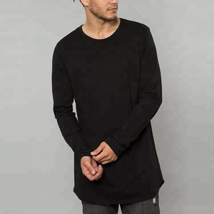 Drop Tail Curved Hem Tall Tee 100% Cotton Black Long Sleeve T-shirt For Men