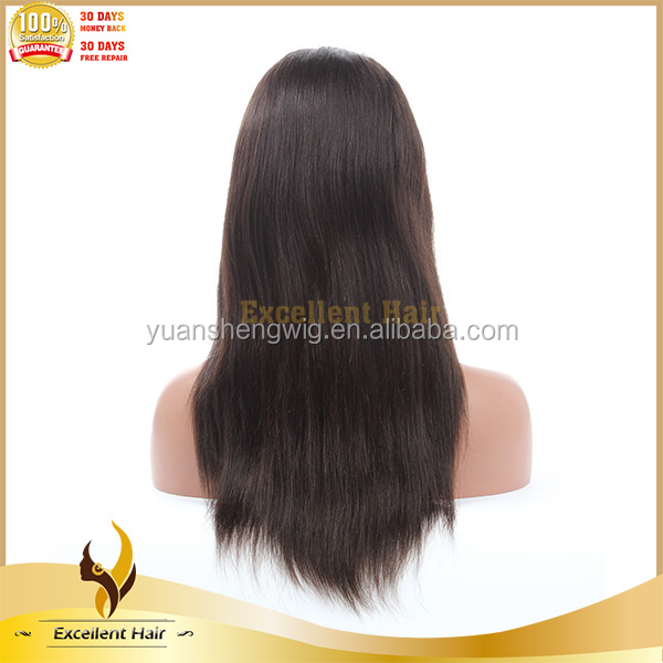 16 Inch 100% Europian yaki Straight Full Lace Wig Natural Color
