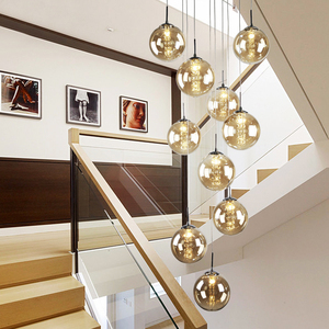 italian villa orb glass stairs pendant hanging light spiral long Hanging lamps Modern crystal beads Staircase Chandelier