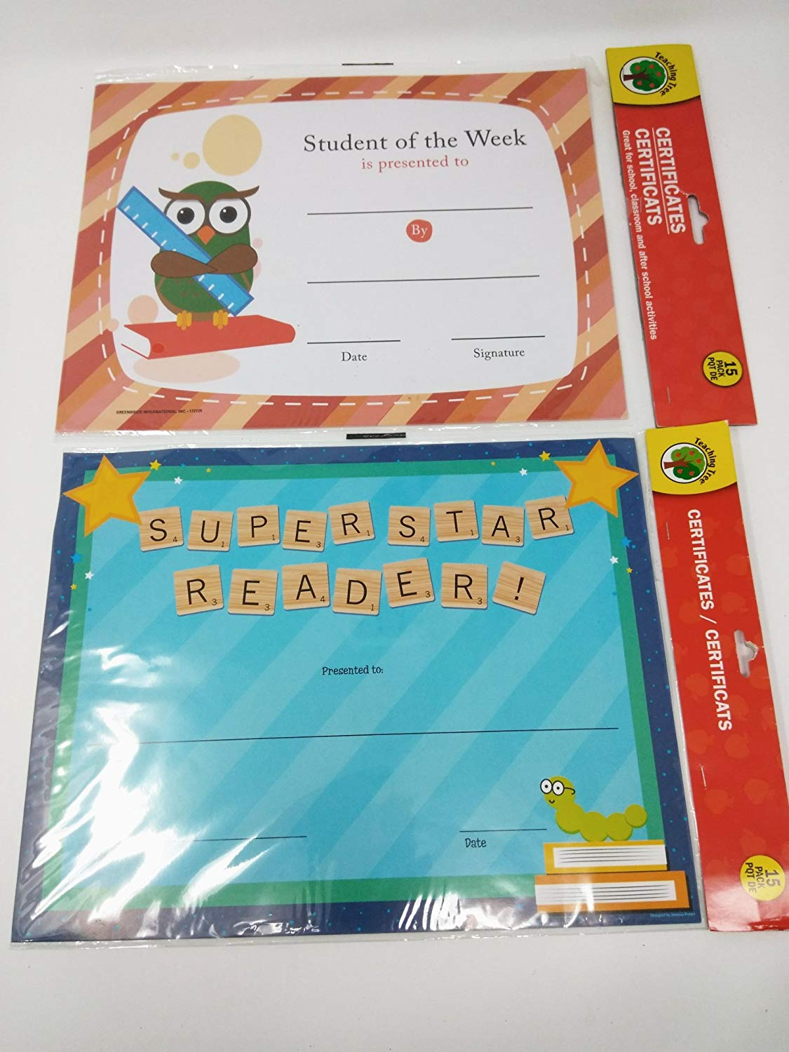 Back to School Toddler Pre-school Elementary School Supplies Student of The Week Super Star Reader Award Bundle of 2