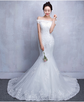 ZH0841E Korean Design Elegant Boat Neck Lace Floor Length Slim Mermaid Bride  Wedding Dress With Long