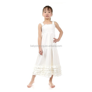Summer jersey ivory long maxi kids girl dress ruffle boutique dresses
