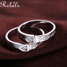 Vintage Style Clear CZ Stone 925 Sterling Silver Engraved Love Forever Jewelry Blanks Couple Ring Set