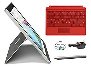Microsoft Surface 3 Bundle - 5 Items: 128GB Wi-Fi Only Quard-Core 10.8-Inch Tablet, Original Bright Red Keyboard, Surface Pen,32GB SDHC Card and 2-in-1 Travel Charger