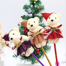 Creative Stationery Cartoon Gifts Teddy Bear Animal Plush Head Toys Pen for School Supplies