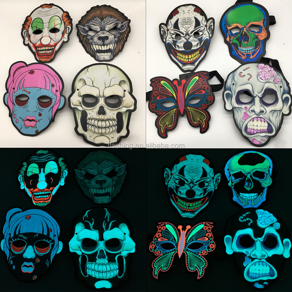 Hot selling Cool Mask,Party Light Up Mask For Party,Halloween, Blacklight Run,Advertisement,DJ,Club,Christmas