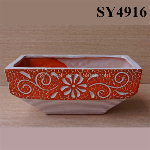 Red rectangle small ceramic orchid flower pots