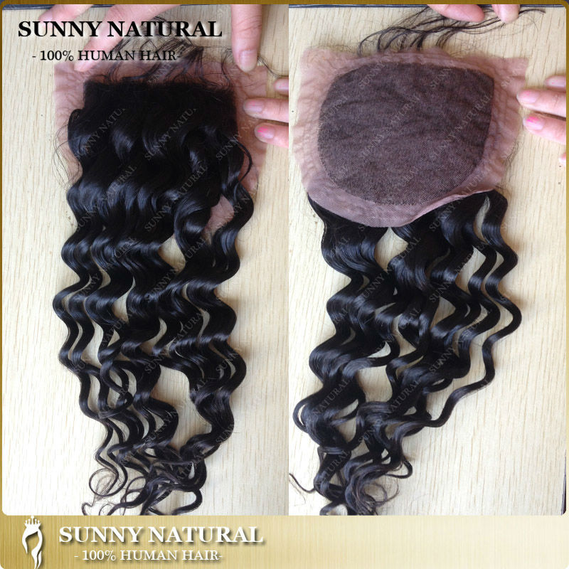silk base closure with baby hair deep curly water wave 8a grade curly human hair closures malaysian hair silk top closures