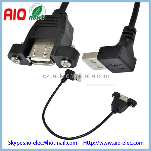 Usb A Female Panel Mount With Screws To Usb A Male Plug 90 Degree ...