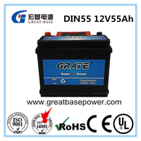 China Rechargeable deep cycle maintenance free AGM VRLA auto car battery 12V55AH