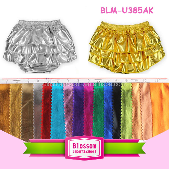 Newborn gold metallic Bloomers Baby solid colors bloomer attached to petti skirt
