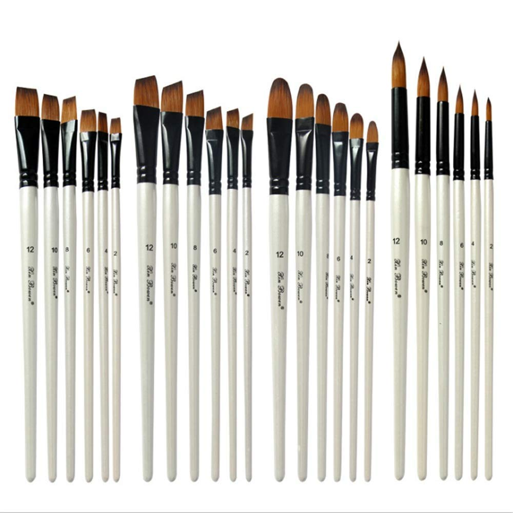 KSUNSEVEN White Color 24pcs/Set Professional Paint Brush 4 Different Tip Nylon Hair Wood Artist Painting Brush for Acrylic Watercolor Oil Painting Stationery Crafts Kids Gift