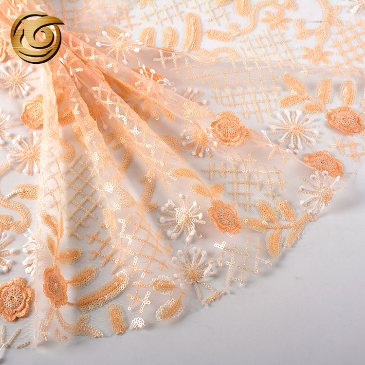 Latest design popular 100 polyester sequin net embroidery fabric