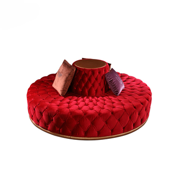 New Model Product Hotel Circular Modern Lobby Red Tufted Round Sofa ...