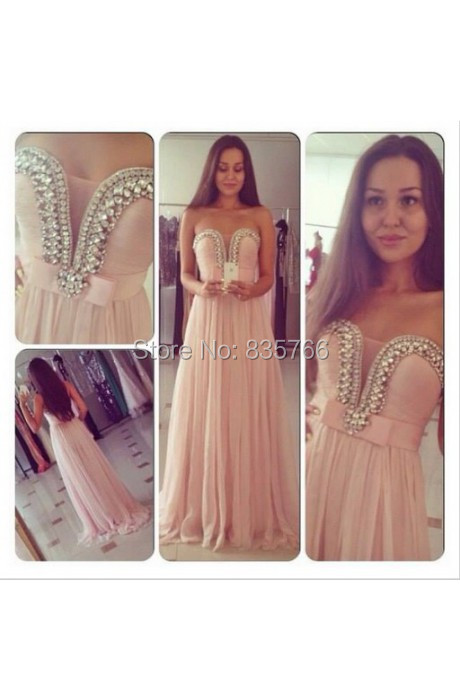Elegant Pearl Pink Sweetheart A Line See Through Sheer Top  Long Prom Dress Chiffon Elegant Backless vestidos de  Festa 2015