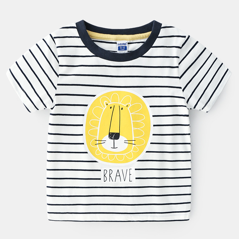 Top Selling Products In Ali Children Striped Print Cartoon Dry Fit Egyptian 100 Cotton Boy T-shirt