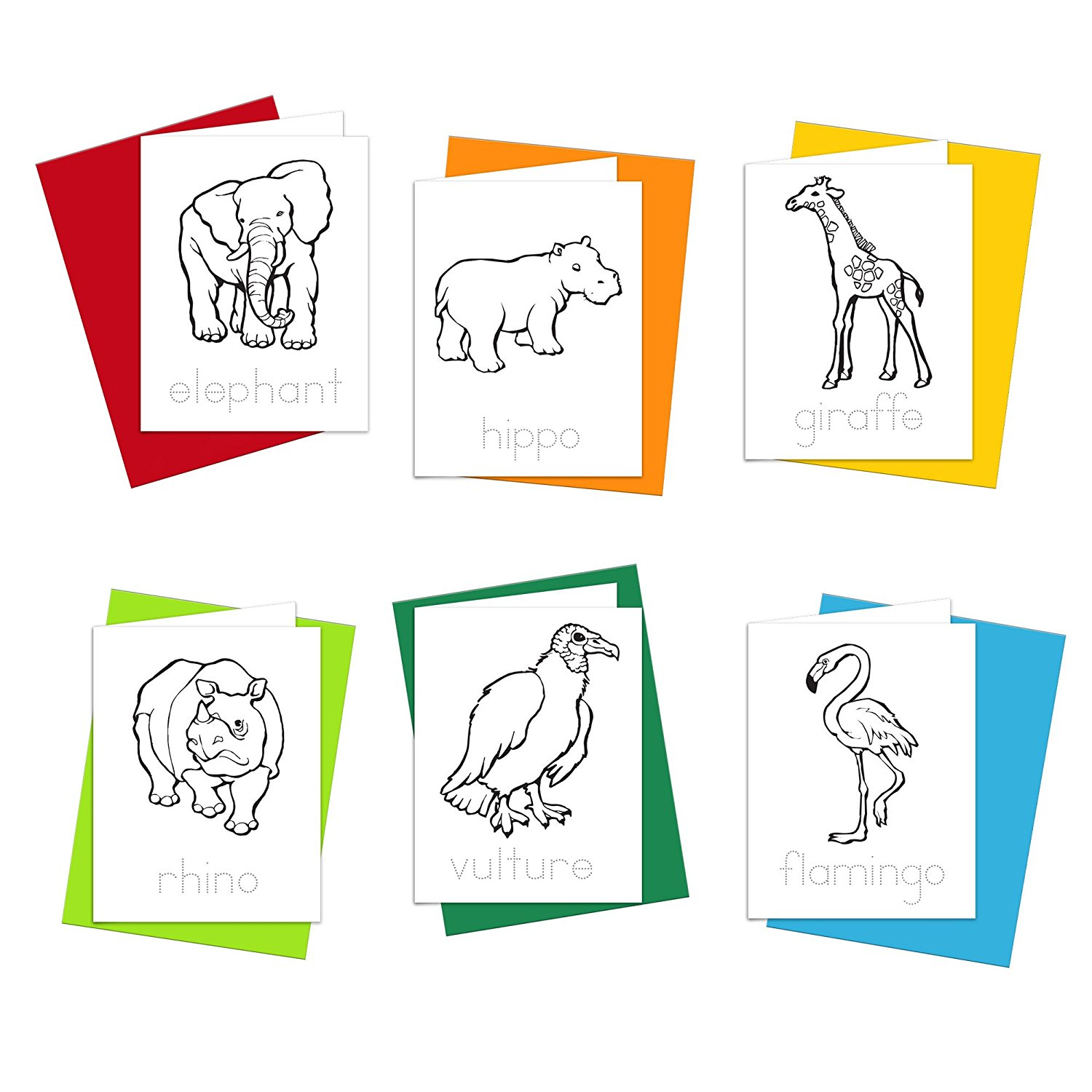 Note Cards - Safari Animals Greeting Cards for Kids to Color, Trace Letters and Practice Writing - Eco-friendly Stationery for Children - 100% Recycled Note Cards with Envelopes – Blank Inside