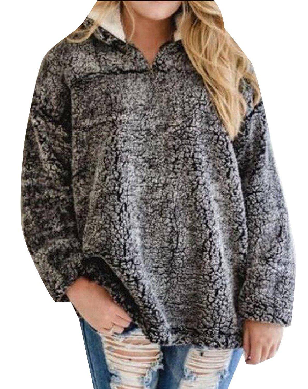 Zimaes-Women Warm Stand-up Collar Solid Zipper Wild Sweatshirts