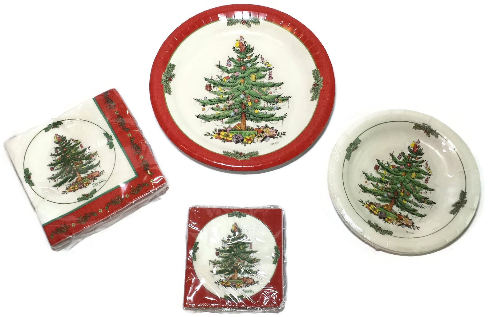 Spode Christmas Tree Paper Plates and Napkins Bundle - 8 Coated Dinner Plates (1 set), 8 Coated Luncheon Plates (1 set), 20 3-Ply Lunch Napkins (1 set), 20 3-Ply Beverage Napkins (1 set) (56 Total Pieces)