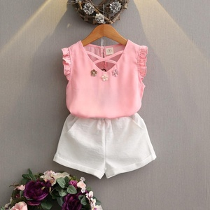 2016 wholesale baby clothes animal white t-shirt short pants kids casual baby girl boutique korean summer children clothing