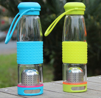 KC-08604 Outdoor Sport Glass Water Bottle with Tea Filter Infuser Protective Bag Sleeve 550ml Eco-Friendly
