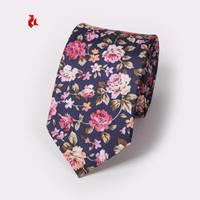 Mens Fashion Navy Skinny Cotton Floral Ties