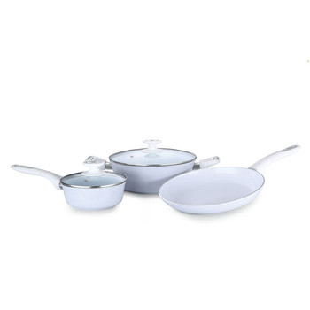 Forged Ceramic Coated Cookware Sets With Tempered Glass Lid