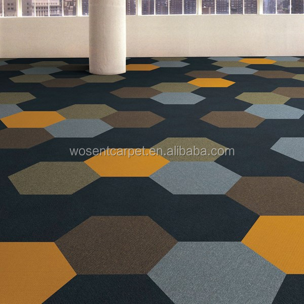 office hexagon shape nylon decorative carpet tile