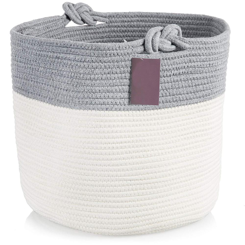 e878eae5ae15 Extra Large Storage Baskets Cotton Rope Basket Woven Baby Laundry Basket  with Handle