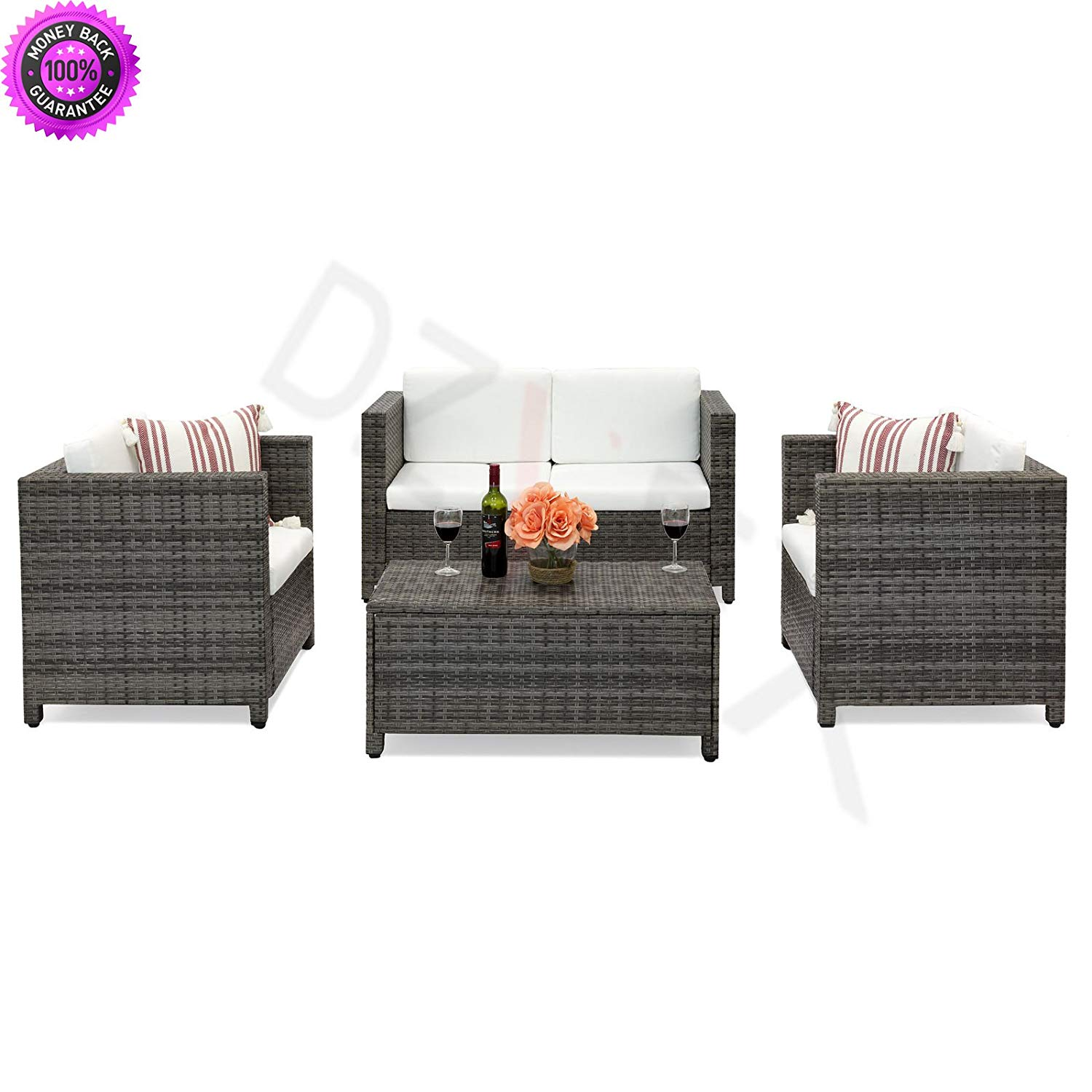 Dzvex 4 Piece Wicker Sofa Set W Cushions Gray And Patio Furniture