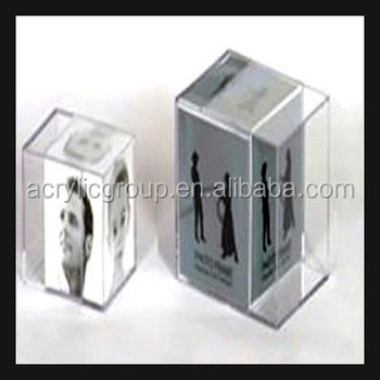 Cube 3d Crystal Acrylic Perspex Block Photofunia Photo Frames - Buy ...