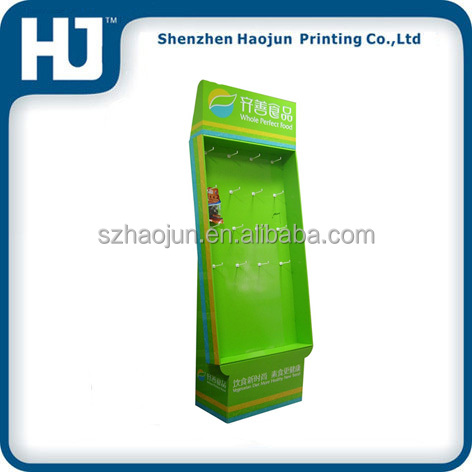 Environmental cardboard advertising hook counter display for supermarket/store various snacks like chips,candy